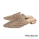 Tino Bellini渡假氛圍編織鏤空穆勒鞋_玫瑰金
