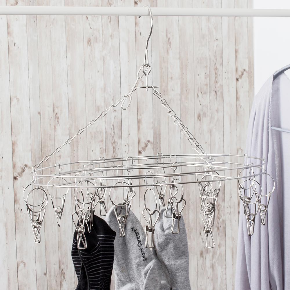 樂嫚妮 不鏽鋼圓形20夾防風衣架/曬晾吊衣襪夾