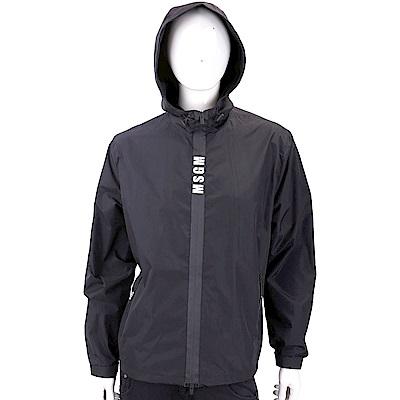 MSGM 品牌字母裝飾黑色輕質連帽風衣外套