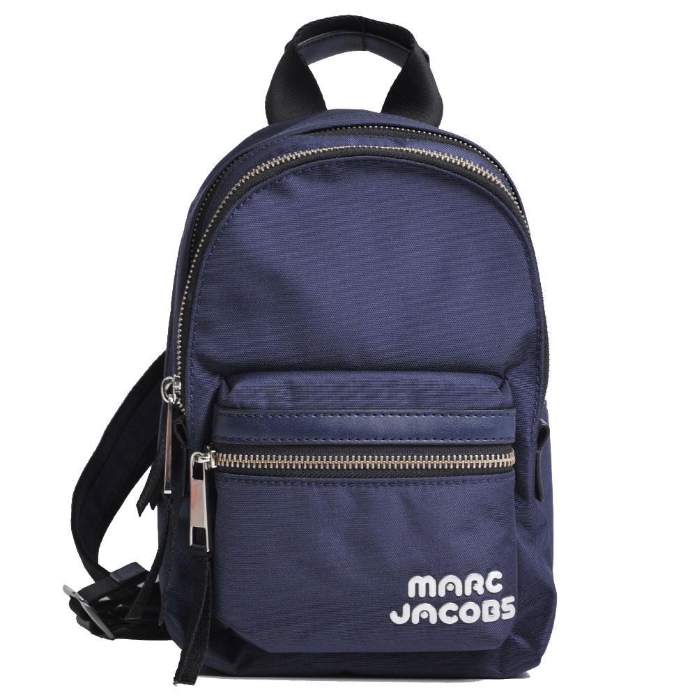 MARC JACOBS Trek Pack 銀色LOGO輕量高性能尼龍後背包(深藍色)