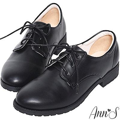 Ann'S學院氛圍-素色QQ軟底綁帶平底牛津鞋-黑(版型偏小)