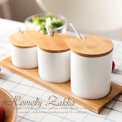 Homely Zakka 美味食光淨白瓷竹蓋調味料三罐組 (階梯三尺寸款)