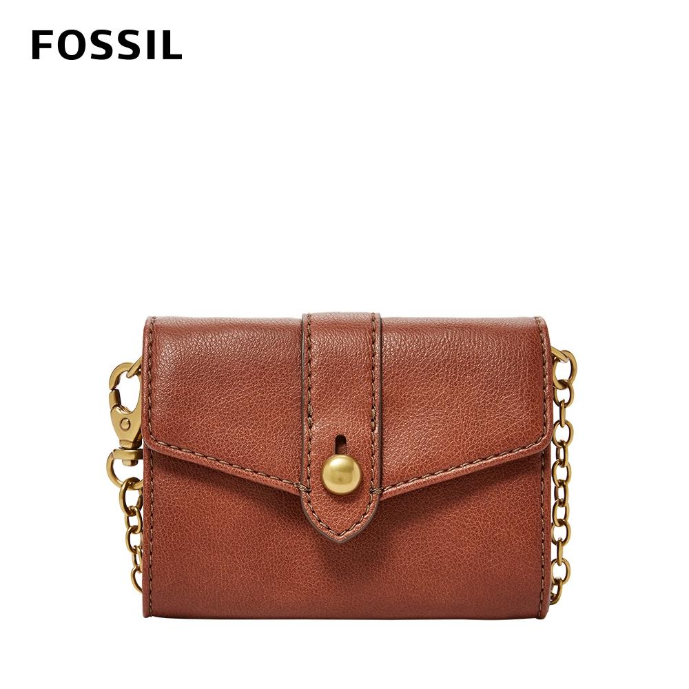 FOSSIL Blake 迷你鍊帶零錢包皮夾-咖啡色 SWL2552210
