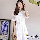 正韓 V領排釦收腰壓褶短袖洋裝 (共三色)-Q-chic