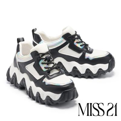 休閒鞋 MISS 21 街頭潮味異材質怪獸厚底休閒鞋-黑