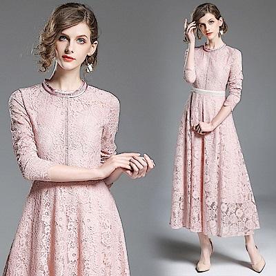 粉色浪漫蕾絲珠飾收腰連身裙M-2XL-M2M