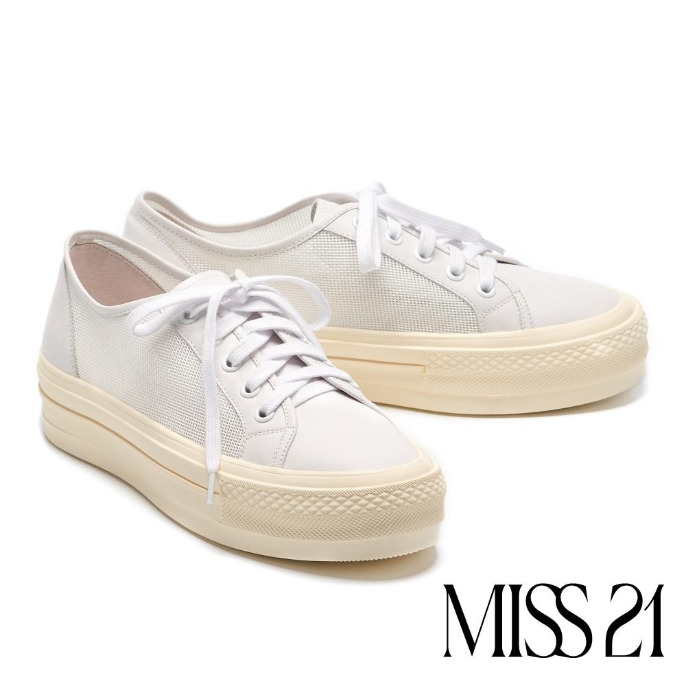 休閒鞋 MISS 21 日常簡約必備網布拼接綁帶厚底休閒鞋-白