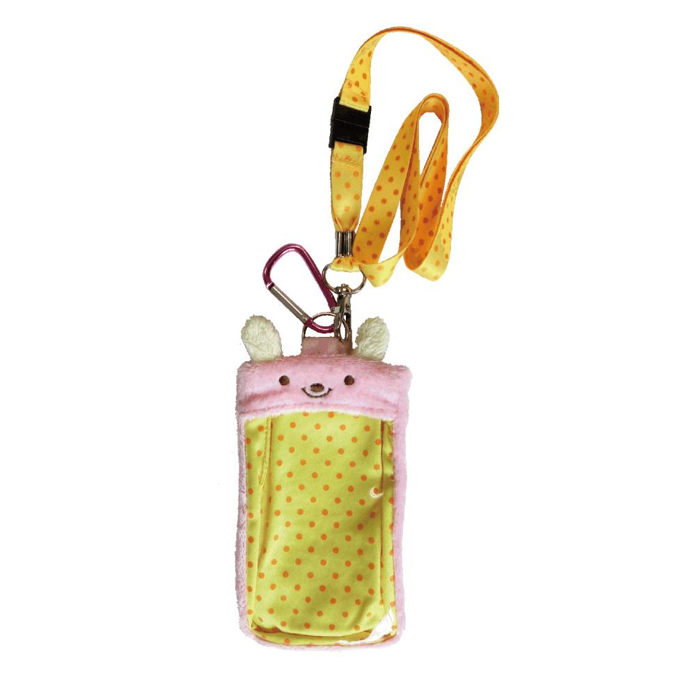 動物樂園毛絨手機背袋 。粉紅兔 UNIQUE