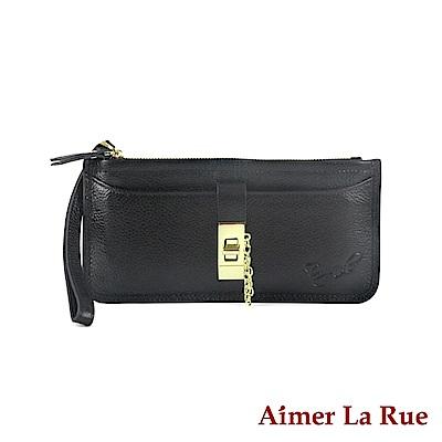 Aimer La Rue 簡約金屬真皮手拿拉鏈長夾系列(三色)