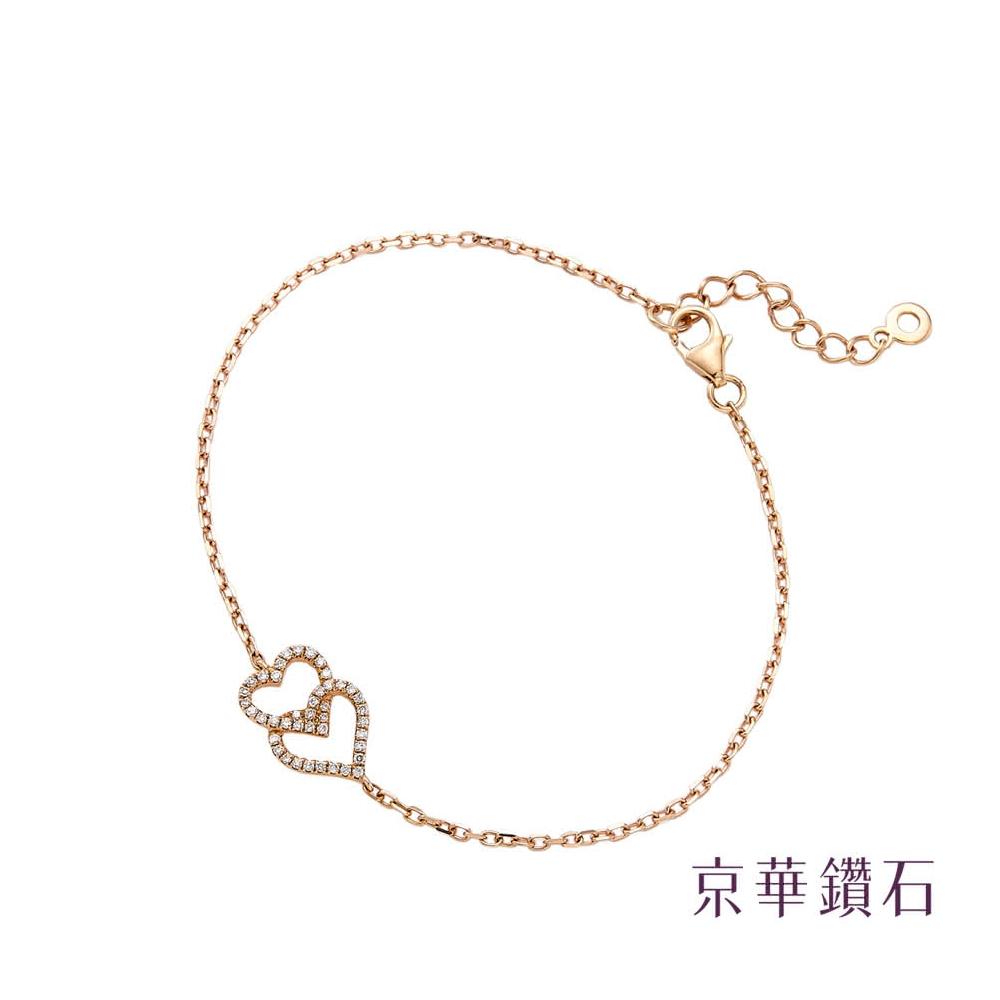 京華鑽石 雙心系列 0.11克拉 18K鑽石手鍊