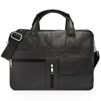 DRAKA達卡 - 斜背/側背/肩背/手拿 - 極度輕巧系列時尚真皮公事包-黑色