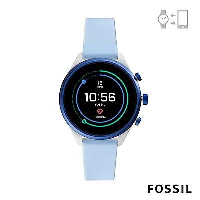 FOSSIL SPORT 運動智能錶-41MM 天藍色矽膠
