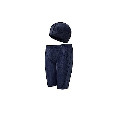 Biki比基尼妮泳衣   石紋男泳褲浮潛褲五分褲+帽(M-3XL)