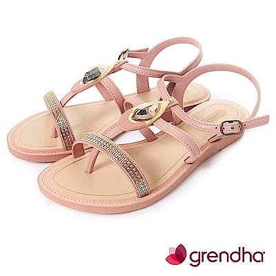 Grendha 華麗寶石金艷平底涼鞋-玫瑰金