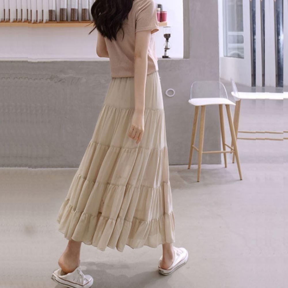 La Belleza素色鬆緊腰微亮面棉麻層次蛋糕裙荷葉大擺裙(有內襯)