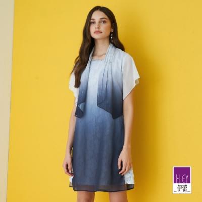 ILEY伊蕾 織蔥漸層活片拼接蕾絲真兩件洋裝(藍)