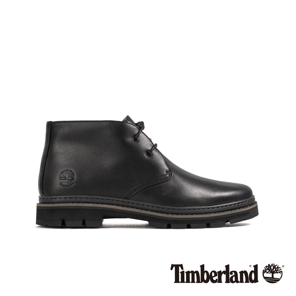 Timberland 男款黑色全粒面革靴 A291B