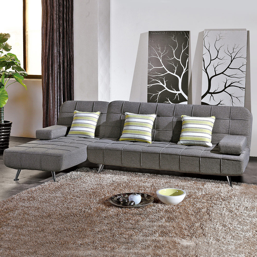 Bernice-布魯斯L型布沙發椅組合/沙發床(送抱枕)