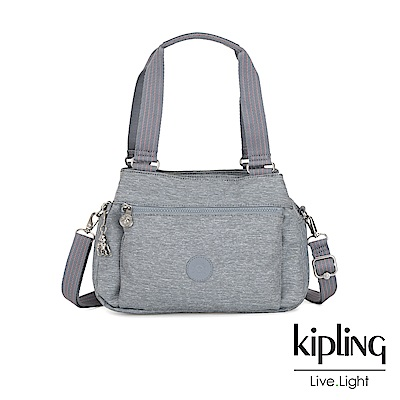 Kipling 極簡風淺灰丹寧梯形手提側背包-ORELIE