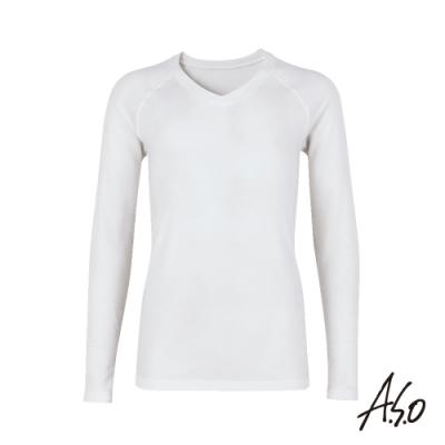 A.S.O 負離子膠原蛋白V領長袖男上衣-白