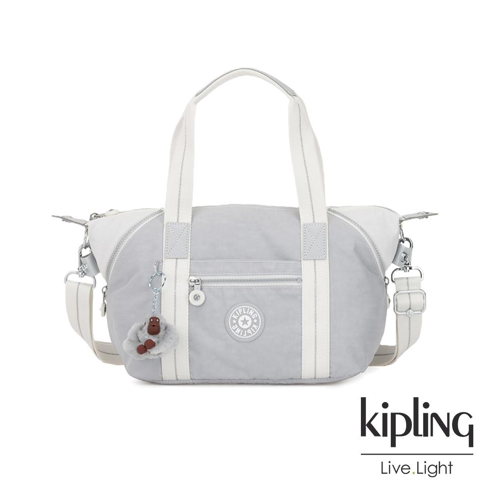 Kipling 知性淺灰撞色手提側背包-ART MINI