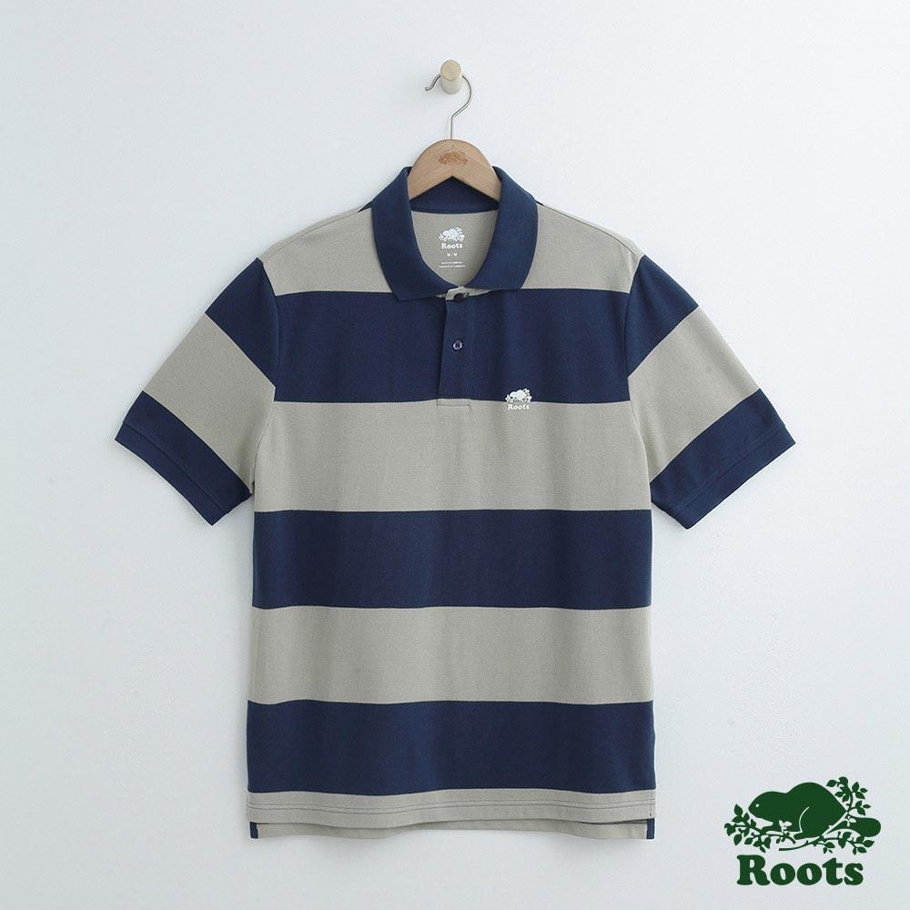 男裝Roots 條紋短袖POLO衫-藍