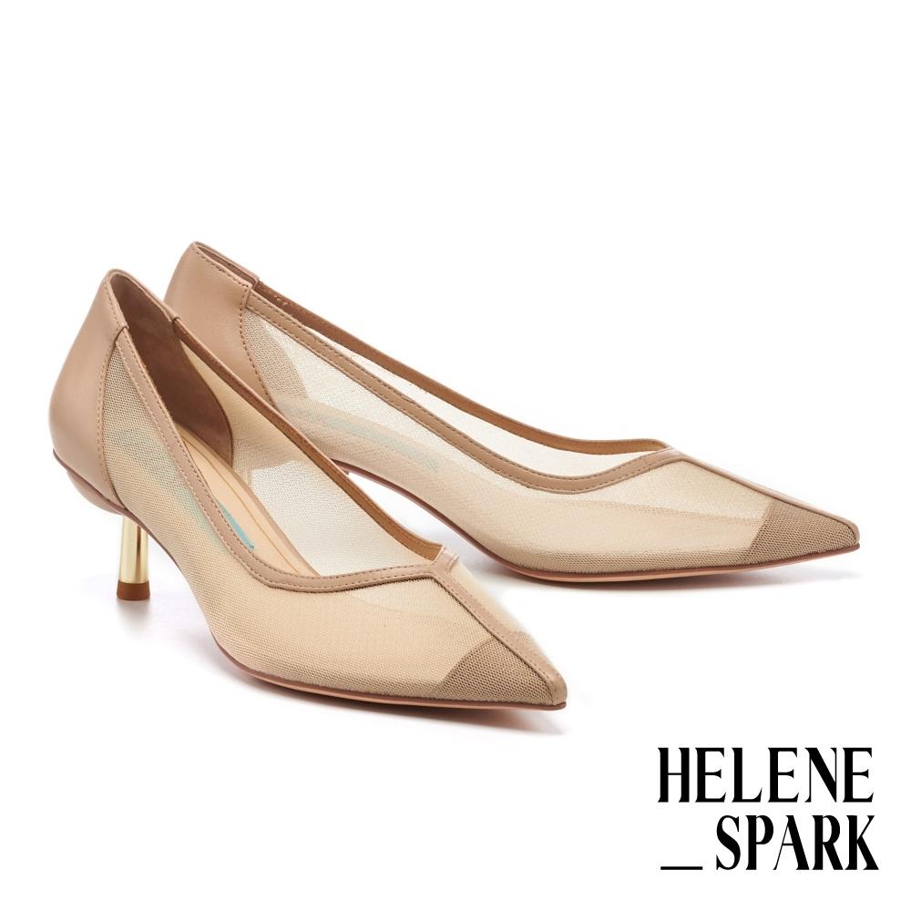 高跟鞋 HELENE SPARK 輕奢迷人透膚網紗尖頭高跟鞋-米