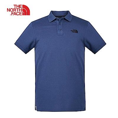 The North Face北面男款藍色透氣休閒短袖POLO衫|3VRAHDC