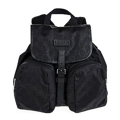 GUCCI 經典GG 印花輕尼龍布雙口袋後背包 (黑色)
