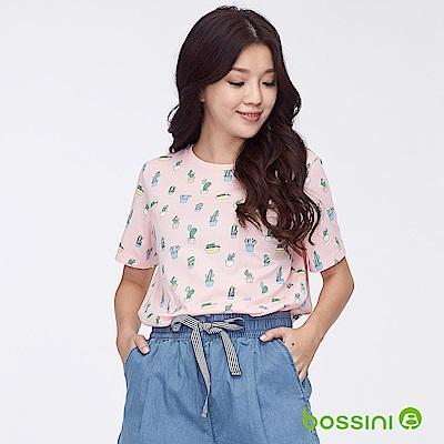 bossini女裝-圓領全版印花上衣02橘