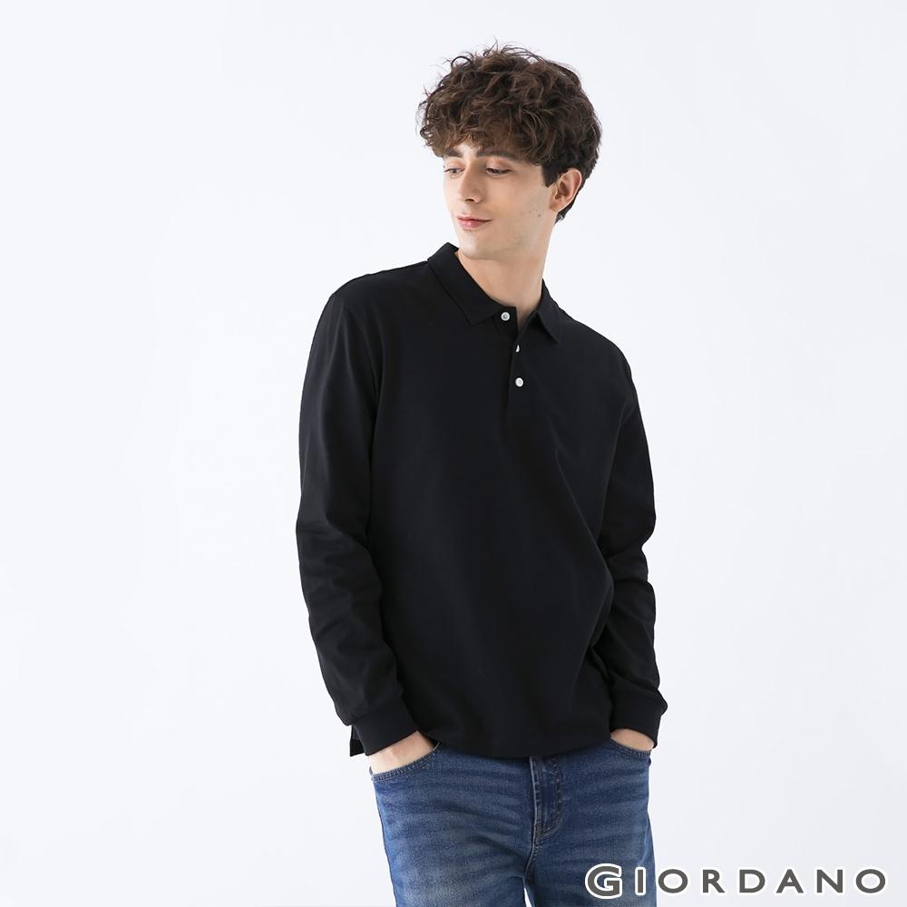 GIORDANO 男裝素色落肩POLO衫 - 02 黑