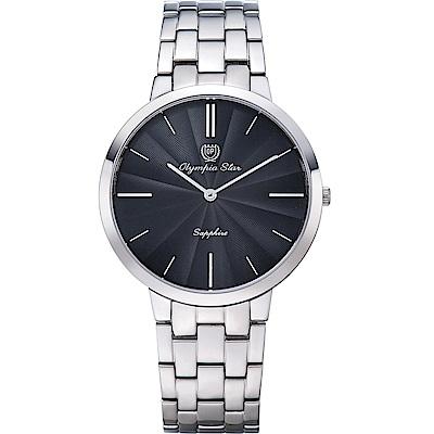 OlympiaStar 奧林比亞之星 時尚水波紋腕錶-黑/40mm  58060MS