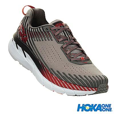 HOKA ONE ONE 男 Clifton 5 路跑鞋 寬楦 科技網布 灰