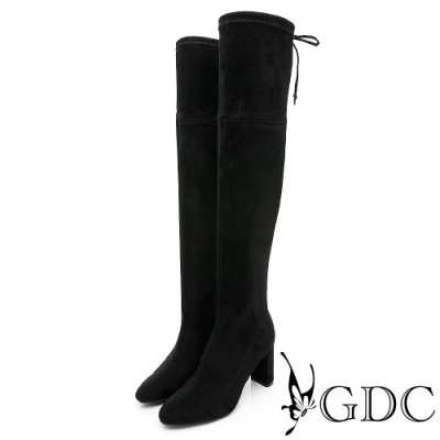 GDC-暢銷素色性感簡約膝上超貼腿高跟綁帶長靴-黑色