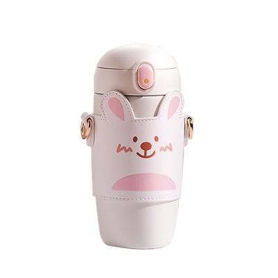 ANTIAN 可愛彈蓋吸管兒童保溫杯 304不鏽鋼隨身保溫水壺 密封防漏 便攜背帶兒童水杯 450ml