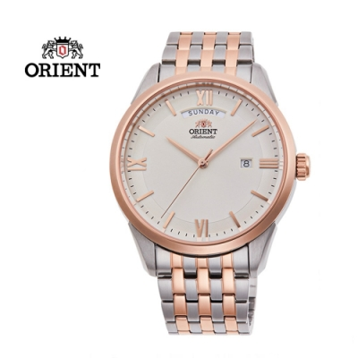 ORIENT 東方錶 WILD CALENDAR 系列 現代簡約機械腕錶 鋼帶款 白色 RA-AX0001S