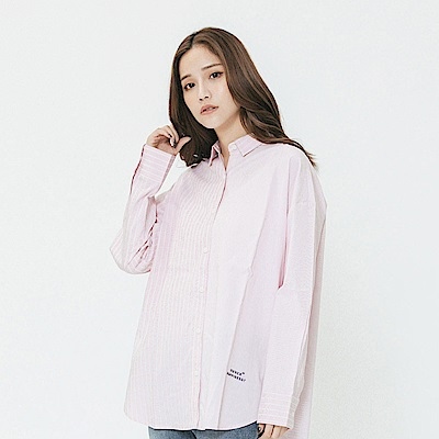 Hang Ten - 女裝 - 設計感不對稱條紋襯衫-粉紅色