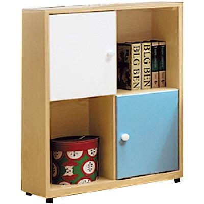 文創集 波利爾亮彩雙色2尺二門床邊櫃/收納櫃-60x30x84.5cm免組