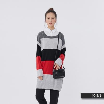 【KiKi】撞色襯衫拼接長版-針織衫(二色)