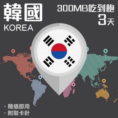 【PEKO】韓國上網卡 3日高速4G上網 300MB流量吃到飽 優良品質