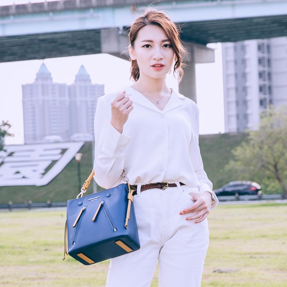 【Maria Carla】個性撞色水桶包_海軍藍_都會時尚系列
