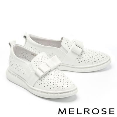 休閒鞋 MELROSE 極簡率性沖孔鏤空全真皮厚底休閒鞋-白
