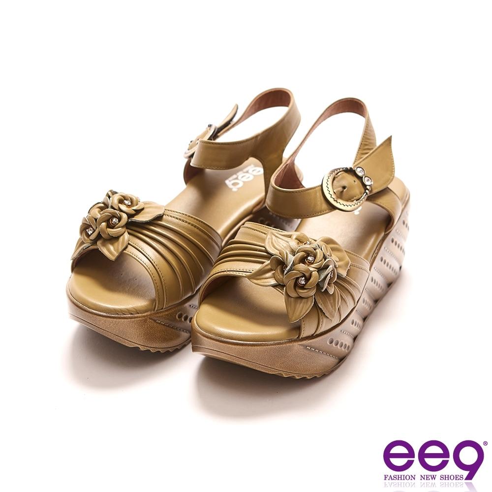 ee9 MIT經典手工立體花朵鏤空露趾厚底涼鞋 芥末-1025002 62