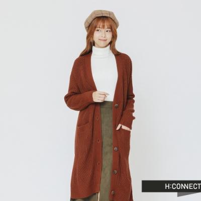 H:CONNECT 韓國品牌 女裝 -排釦口袋長板針織外套-棕(快)