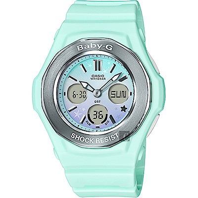 CASIO 卡西歐 Baby-G 天空漸層粉彩手錶-粉綠(BGA-100ST-3A)
