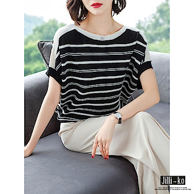 JILLI-KO 拼接條紋針織衫- 白/黑