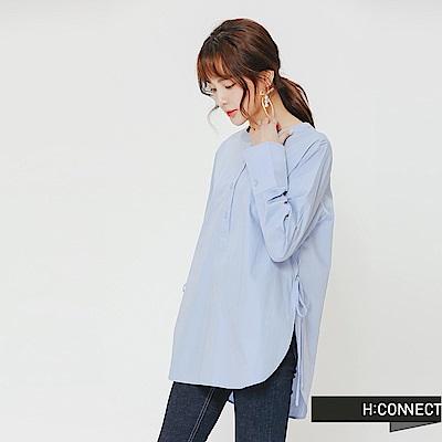 H:CONNECT 韓國品牌 女裝-半開襟側綁帶上衣-藍