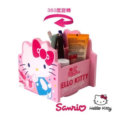 Hello Kitty 繽紛玩美 凱蒂貓 360旋轉收納盒 筆盒 筆桶 飾品盒 置物盒