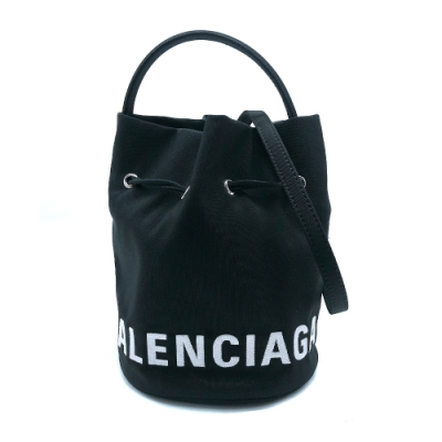 Balenciaga Black XS Wheel Bucket 尼龍手提/斜背水桶包(619458-黑)