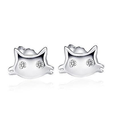 米蘭精品 925純銀耳環-鑲鑽可愛貓咪耳環